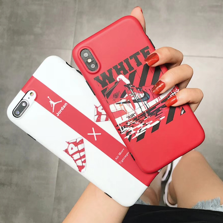 pretty nice cd1af c1a8b New AJ1 Air Jordan Sup Basketball shoes case for iPhone 8 7 6 6S Plus X  Fashion off Ow Supre white Soft silicon phone cover capa