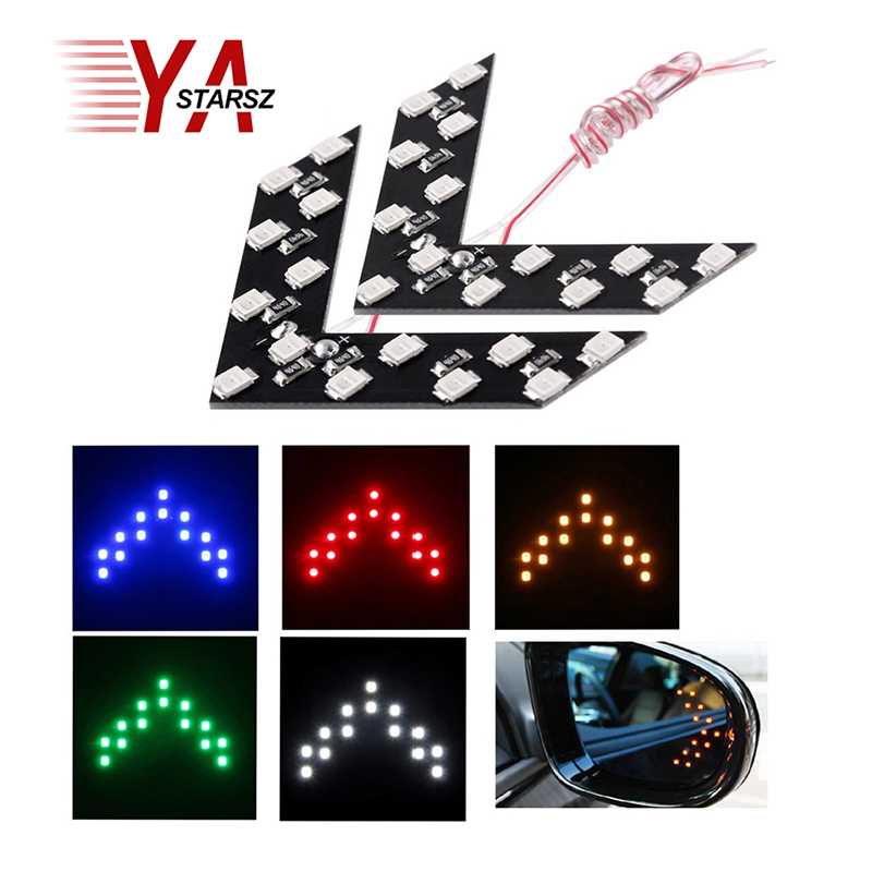 Newest 2 Pcs 14 SMD LED Arrow Panel For Car Rear View Mirror Indicator Turn Signal Light parking light car styling free shipping 1pcs universal car amber arrow panel yellow 14 smd led car side mirror rear view indicator turn signal light lamp