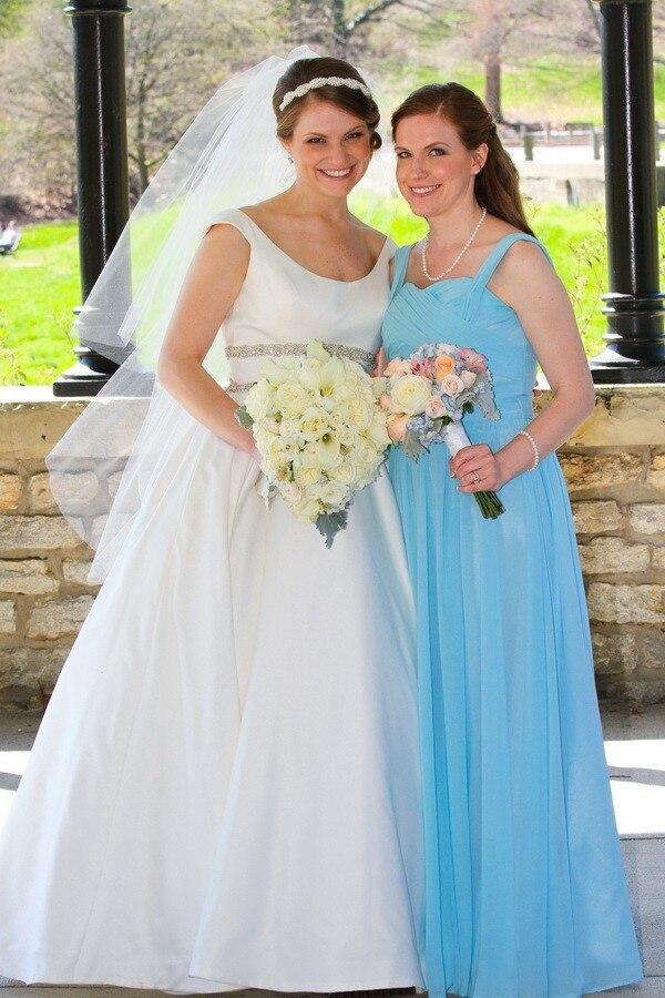 Simple Blue Bridesmaid Dresses A-line Sweetheart Neckline Cheap Chiffon Dress Bridesmaid vestido de madrinha