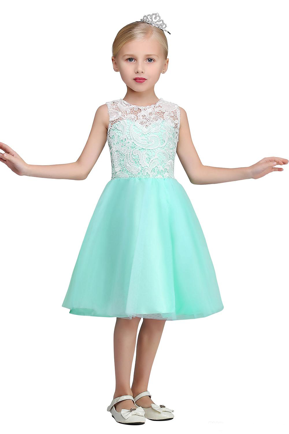 2017 new white lace top cheap flower girls dresses crew neck knee 2017 new white lace top cheap flower girls dresses crew neck knee length mint green tulle mother daughter dresses for girl in matching family outfits from izmirmasajfo