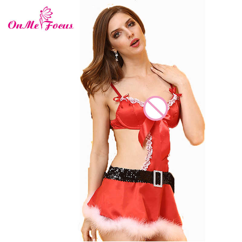 050b66ffed Costume Women Santa Claus Role Cosplay One Piece Erotic Teddy Lingerie Sexy  Underwired Push Up Bra