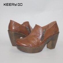 Vente de haut de gamme en cuir de vachette chaussures à talons hauts nouveau confortable chaussures simples à l'intérieur et à l'extérieur