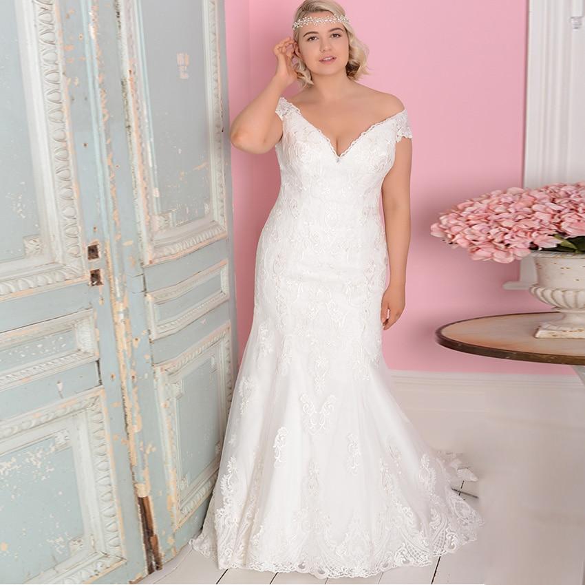 ADLN Sexy V neck Mermaid Wedding Dresses Plus Size Tulle Lace Wedding Gowns Bride Dress Vestido