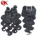 7A Brazilian Virgin Hair 5pcs Lots 3Part Lace Closure With 4 Bundles Unprocessed Natural Color Human Hair Weave Body Wave
