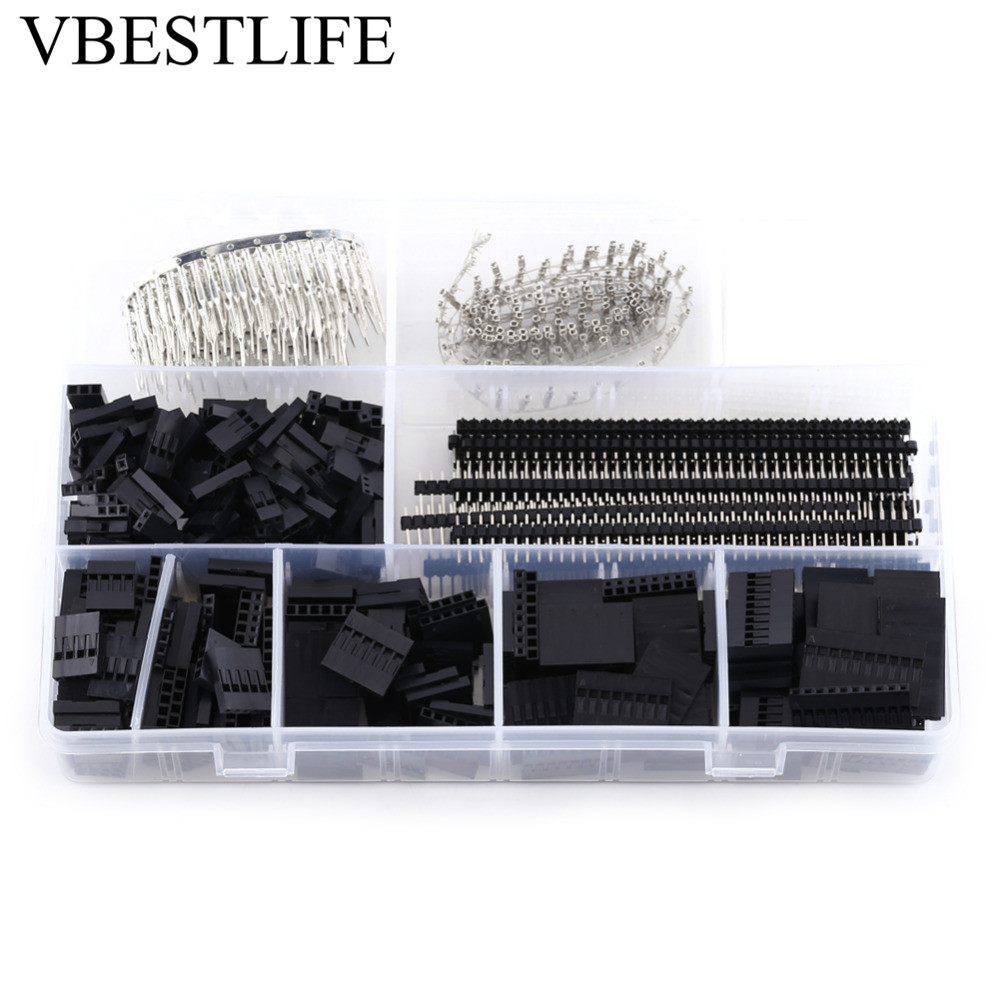 1450pcs Connector 2.54mm Jump Wire Jumper Connector Terminal Male Female Pin Connector and Housing Header Kit for Making