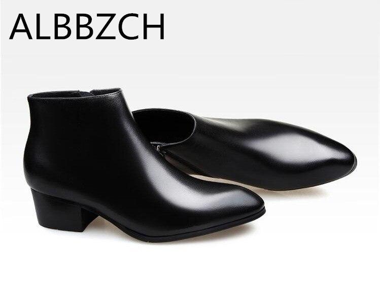 Automne hiver véritable bottes en cuir de vache hommes talons hauts simple élégant bottines d'affaires robe de travail bottes hommes chaussures de mariage