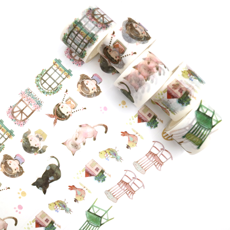 1PCS Creativity Kawaii Cat And Girl Washi Tape DIY Decoration Scrapbooking Planner Masking Tape Adhesive Tape Stationery 7m*30mm