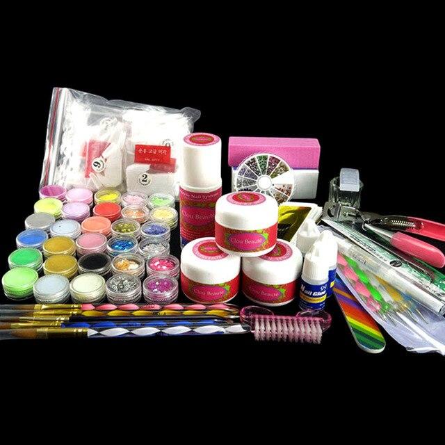 3D Mold False Nail Glitter Sheets Acrylic Powder Brush Pen Dotting Pen Colorful Sanding File DIY N034 Nail Kits