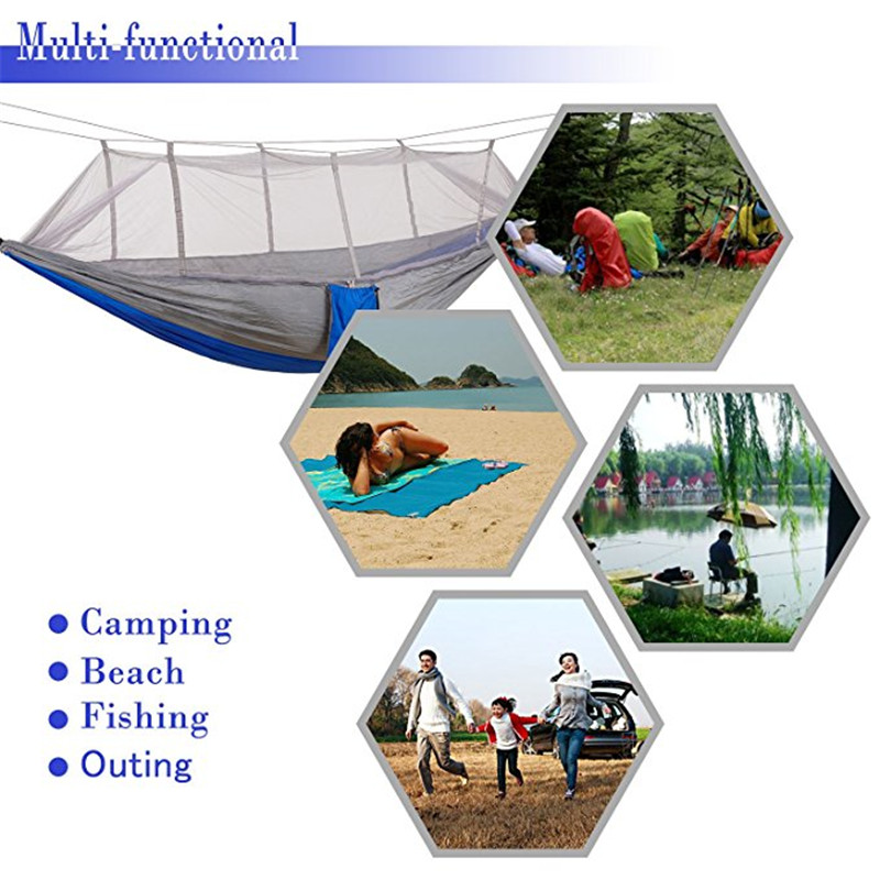 Camp Sleeping Gear Camping & Hiking Outdoor Camping Hammock With Mosquito Net Tree Ropes Carabiners For Travel Hiking Beach Backyard Backpacking Sleeping Bag Bed