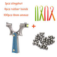 Toparchery Stainless Steel Slingshot with 4 Rubber Bands 100 Ammos for Hunting Adult Outdoor Catapult Sling Shot