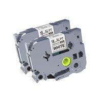 4pcs/lot compatible Tze 241 tze241 tze 241 Tz241 18mm label tape black on white brother PT D450 PT D600 PT E550W PT P900W|Printer Ribbons| |  -