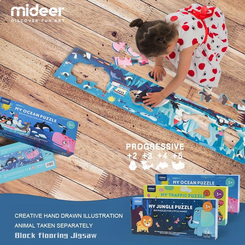 Mideer 28 pcs 100x22 cm Enfants Grand Plancher Papier Puzzle Jouets Océan Jungle Trafic Thème Bébé Enfants L'éducation d'apprentissage Jouets Cadeaux