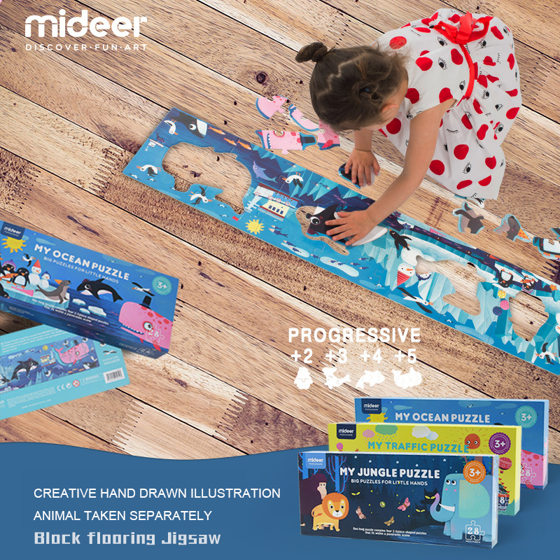 Mideer 28pcs 100x22cm Children Big Floor Paper Puzzle Toys Ocean Jungle Traffic Theme Baby Kids Education Learning Toys Gifts