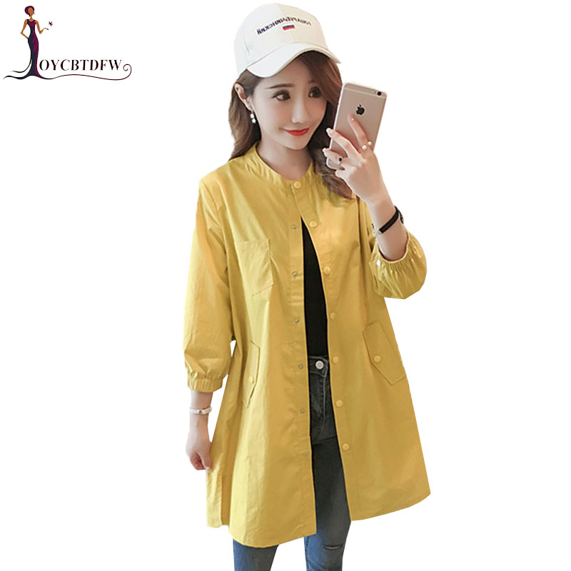 Autumn Harajuku Pure Color Sleeve Women   Trench   Coat 2018 New Korean Fashion Slim Thin Cardigan Round neck Casual Lady Coat XY122