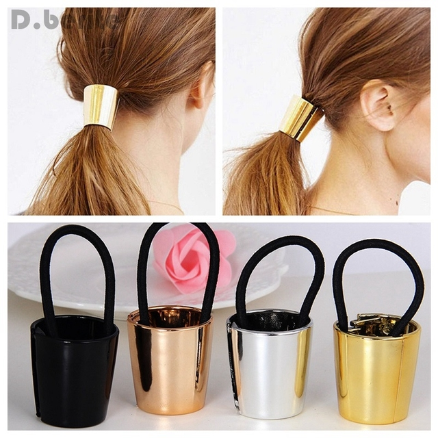 Fashion Style Chic Cuff Wrap Woman Baby Girls Metal Elastic Ponytail Holder  Hair Tie Band Ring Rope ZXY9444 31ac7daa7866