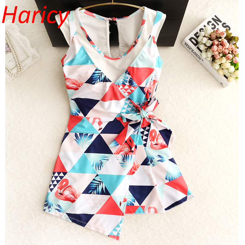 2018 New Ladies Plus Size One Piece Swimwear Skirt Printed Bathing Suit Women Swim Suits Swimming Dress Swimsuit Beach Wear niumo new spa swimwear female gather one piece skirt type swimming suit sweet student swimsuit