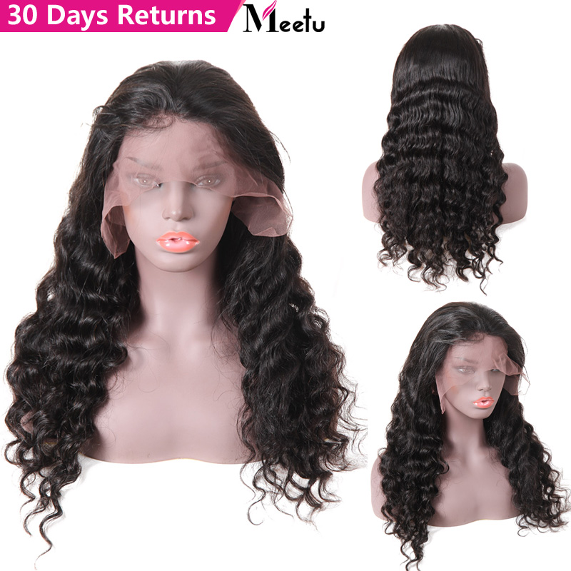 Lace Front Human Hair Wigs Brazilian Deep Wave Wig Pre Plucked Lace Wig With Baby Hair Natural Color 180% Remy Wigs Meetu Hair