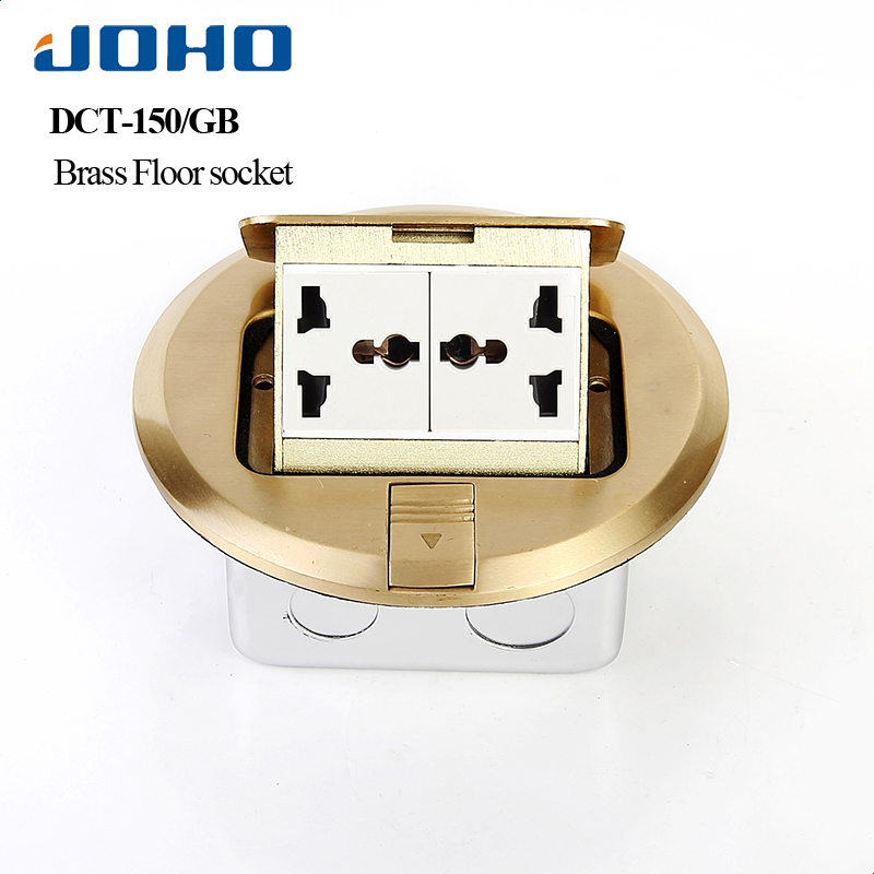 все цены на JOHO Brass Socket 6 Hoel Round Type Floor Box Panel With 10A Double Universal Sockets Pop Up Type Power Ground Socket онлайн