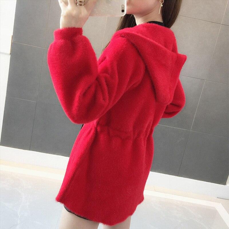 Ky344 Manteaux Longue De red Paresseux Femmes Black Automne Nouvelle Vent Cardigan Chandail D'eau Femelle Chic Imitation Section 2018 white ZqzqnY