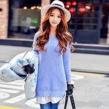 Original 2016 Brand Pullover Autumn Winter Plus Size Long Sleeve Fashion Slim Patching Warm Long Sweater Women Wholesale