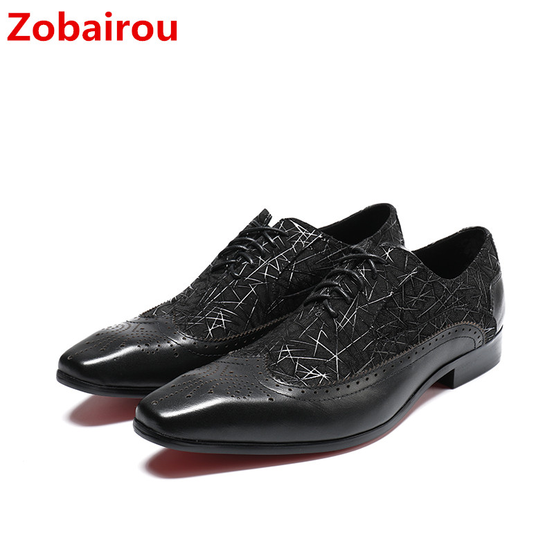 Zobairou sapato masculino black patent leather shoes men brogue formal shoes lace up square toe italian wedding shoes zapatos