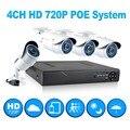 JOOAN 4ch 720 p poe cctv sistema al aire libre mini cámara del ip del poe HD grabador de $ number canales HDMI P2P POE NVR CCTV home video seguridad vigilancia