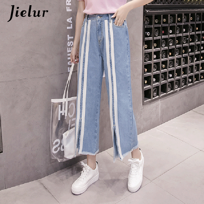 Jielur Preppy Style Pockets Striped   Jeans   Woman Kpop Novelty Plus Size   Jeans   Mujer Tassel Wide Leg Denim Pants Casual Streetwear