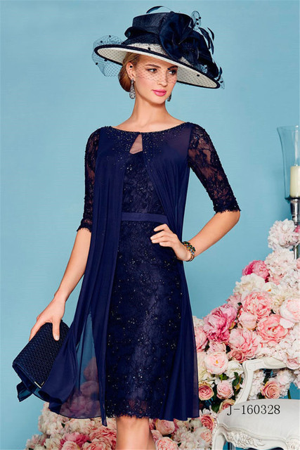 2017 Mother Of The Bride Dresses With Jacket Cap Sleeves Navy Blue ...