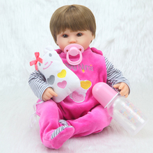 Forrsdor 16 40cm Silicone Reborn Baby Doll kids Playmate Gift For Girls  Soft Toys For Bouquets Doll Bebe Rebor 16 inch vinyl silicone reborn baby doll kids playmate gift for girls baby alive soft toys for bouquets bonecas gifts