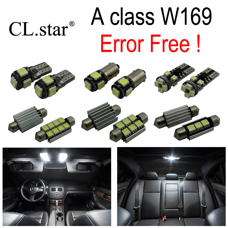 12pcs LED License plate bulb Interior dome Light Kit For Mercedes Benz A class W169 A150 A160 A170 A180 A200 (2005-2012) cawanerl car canbus led package kit 2835 smd white interior dome map cargo license plate light for audi tt tts 8j 2007 2012