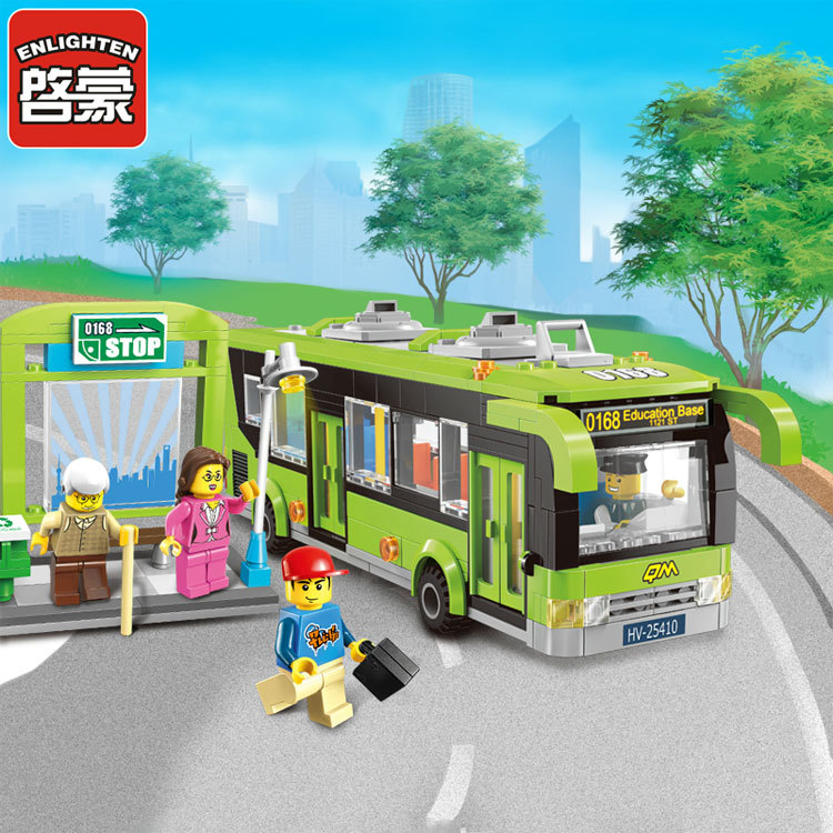 418pcs Enlighten City Bus Station Building 1121  Block sets Kids Educational Bricks Toys blockset Compatible with lego