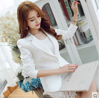 2016 Fashion Winter Casual Women White Blazers and Jackets Female Slim Coat Femme Long Sleeve feminino plus size work cape Suit