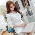 2016 moda de invierno Casual mujeres blanco Blazers y chaquetas mujer delgada capa Femme manga larga feminino plus size trabajo cabo Suit