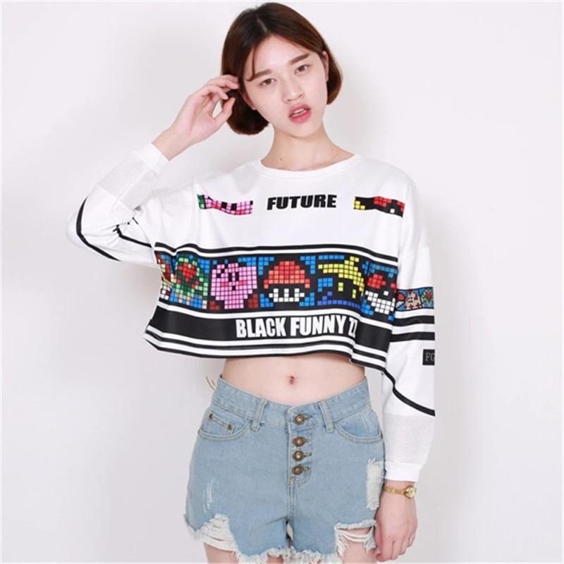 Anime Short Sweatshirt Women Anime Crop Top 2016 Harajuku Style Long Sleeve Game Printing  Tops Hip Hop Streewear Short Pullover