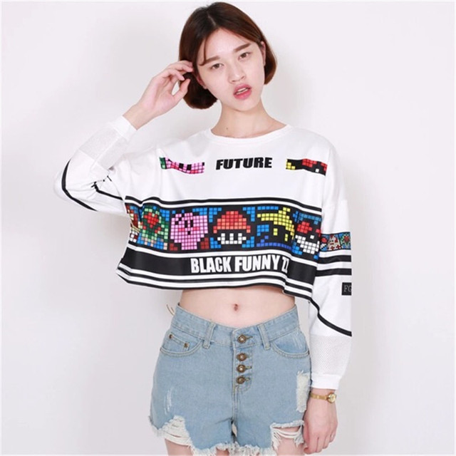 Us 16 73 7 Off Anime Short Sweatshirt Women Anime Crop Top 2016 Harajuku Style Long Sleeve Game Printing Tops Hip Hop Streewear Short Pullover In