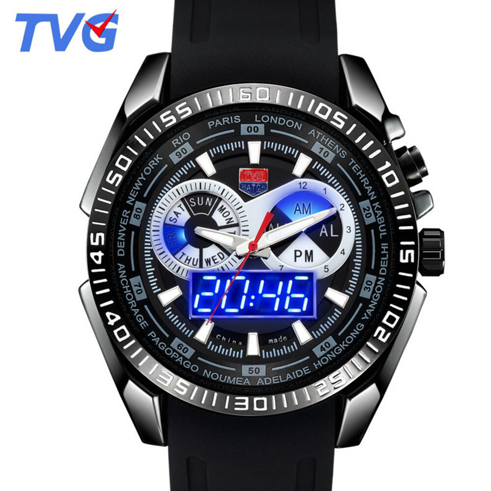 TVG Brand Men Quartz Watch Fashion Blue LED Dual Display Digtal Watch Mens Silicone Strap Wristwatch Male Gift relogio masculino brand weide fashion casual men watch black silicone strap 3atm waterproof dual display wristwatch relogio masculino sale items