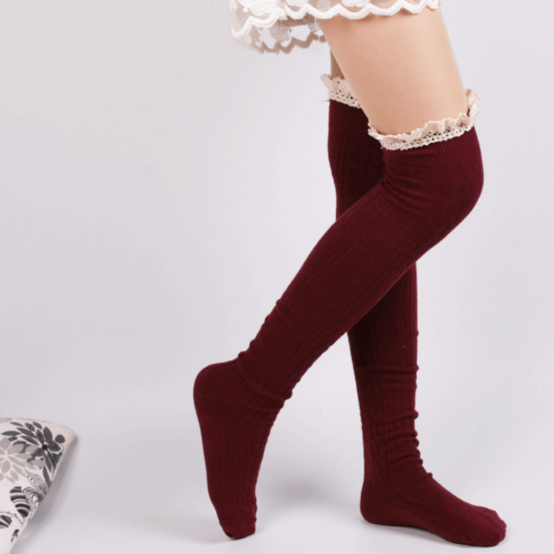 Over The Knee Socks Thigh High Cotton Stockings Overknee Winter Fashion Knee Socks Solid Mori Girls Cute Lace Top Stockings