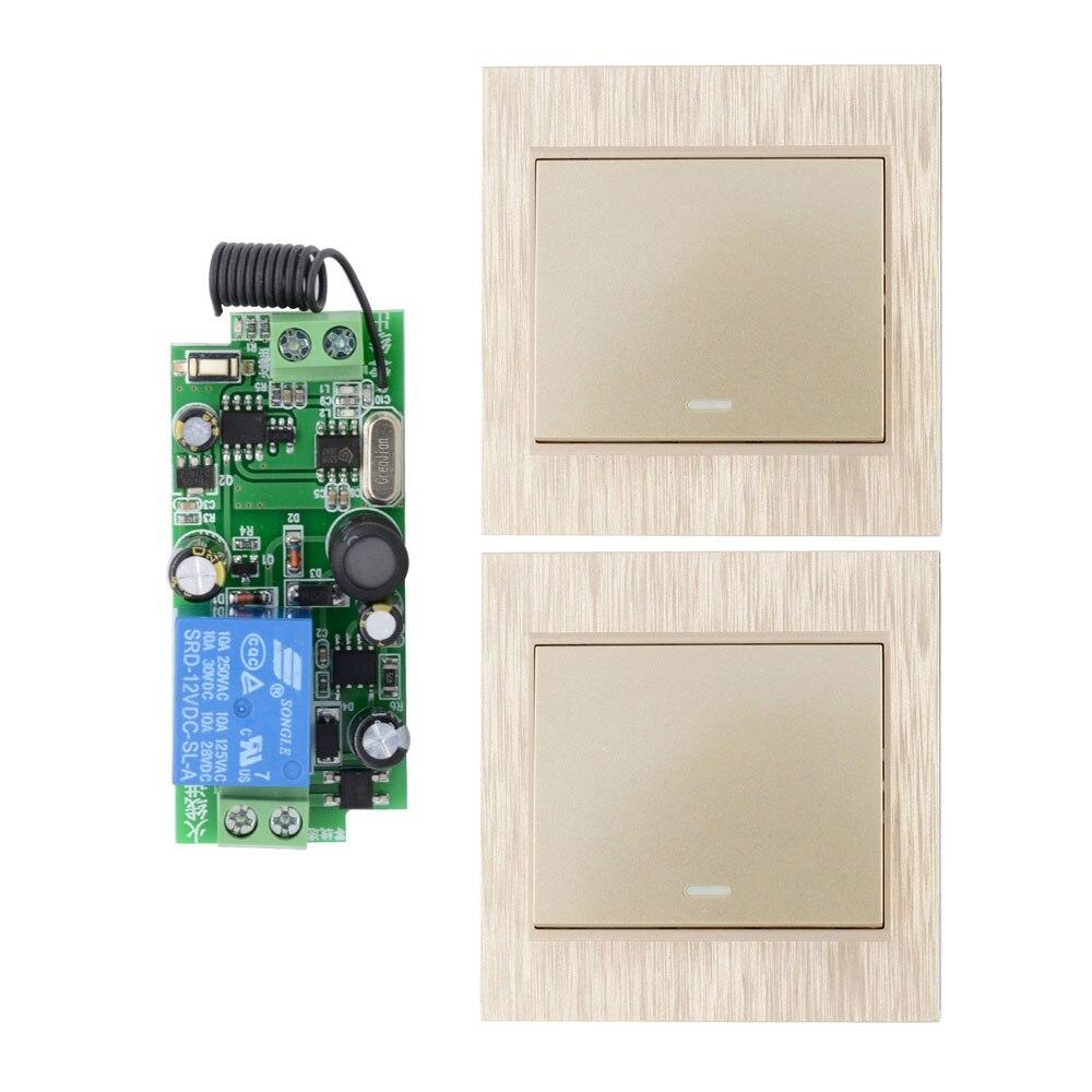 AC 110 V 220 V 250 V 1ch 2ch 10a RF interruptor de luz inalámbrico + transmisor inalámbrico panel de pared Control remoto