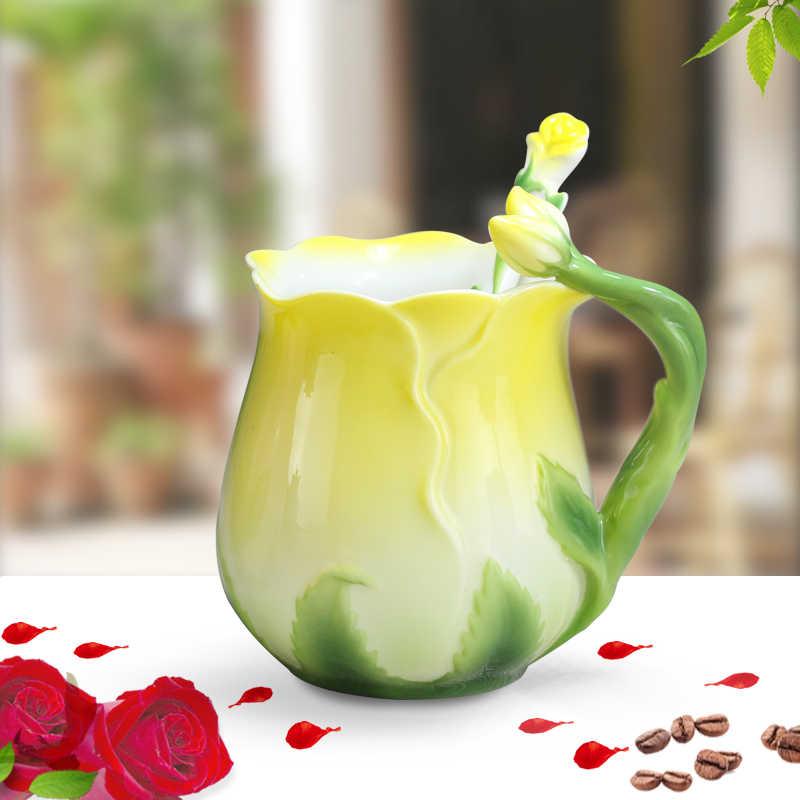 ارتفع القهوة أكواب العظام شاي صيني كوب مع ملعقة الإبداعية Drinkware عشاق صديق هدية 4 أنماط 12.7