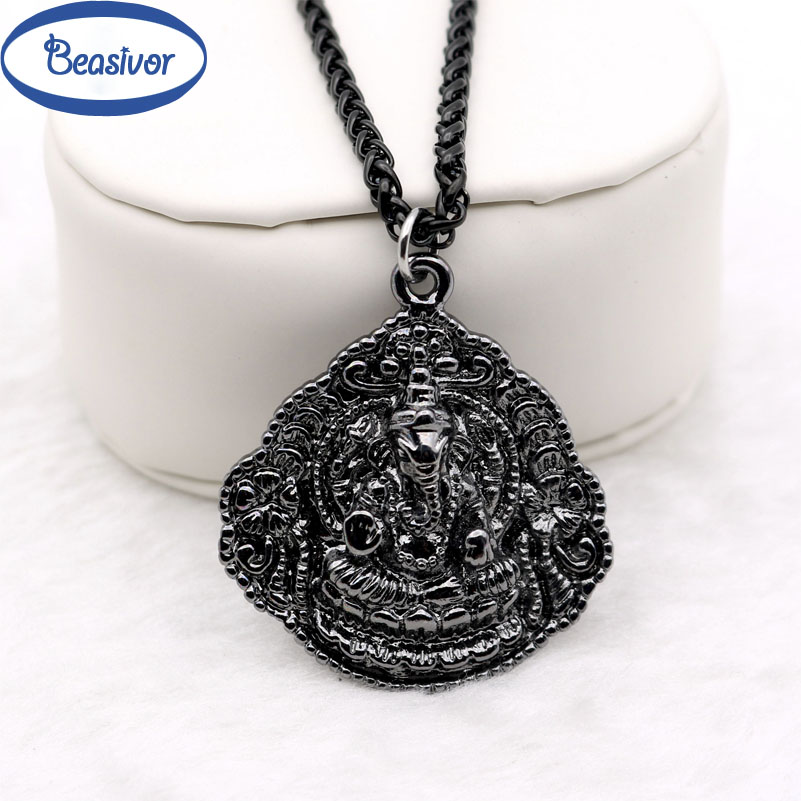 Black ganesh pendants necklace elephant pikanet prayer lucky symbol black ganesh pendants necklace elephant pikanet prayer lucky symbol men peace love jewelry stainless steel chain in pendant necklaces from jewelry aloadofball Image collections