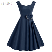 Retro Hepburn Style Women Dress Elegant Sleeveless Bow Polka Dot Swing Dress Vestidos De Festa Vintage