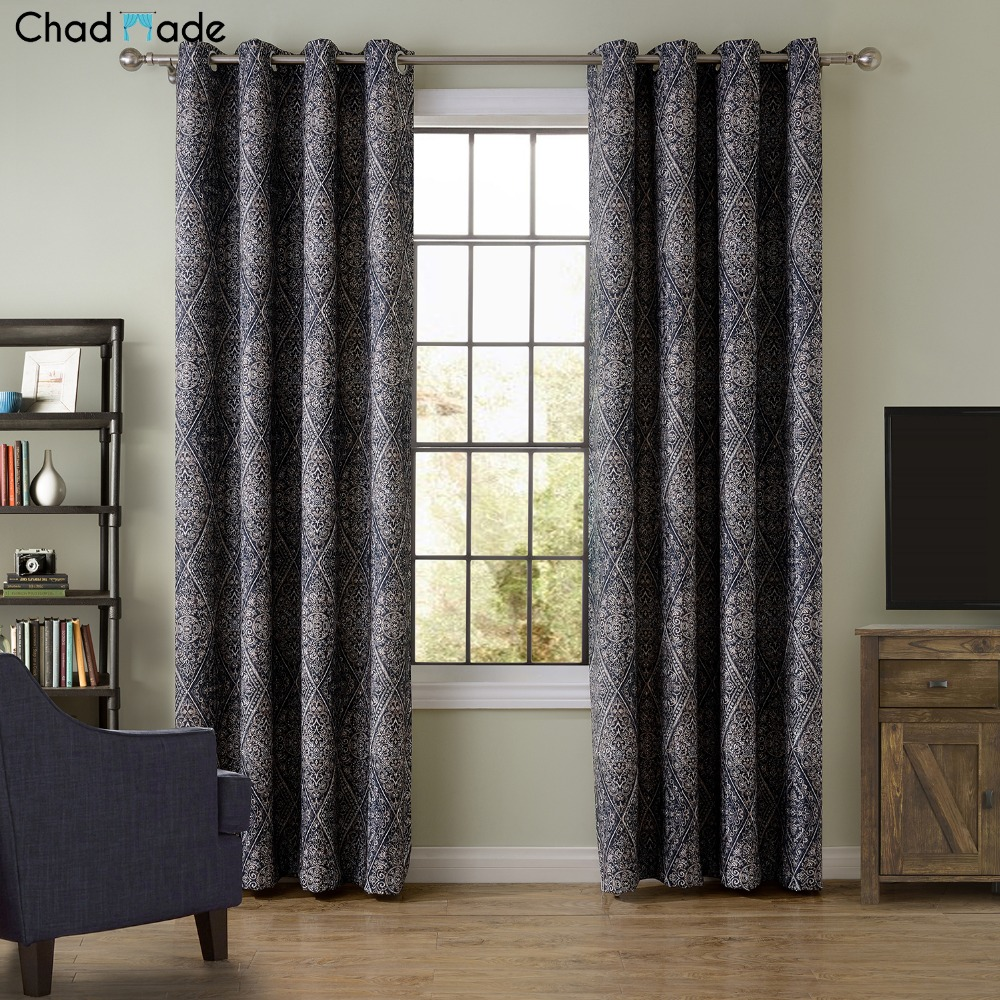 Simple window curtains - Chadmade New Blackout Curtain Fabric Bedroom Living Room Floor Simple Classic Style Floating Window Curtain Custom