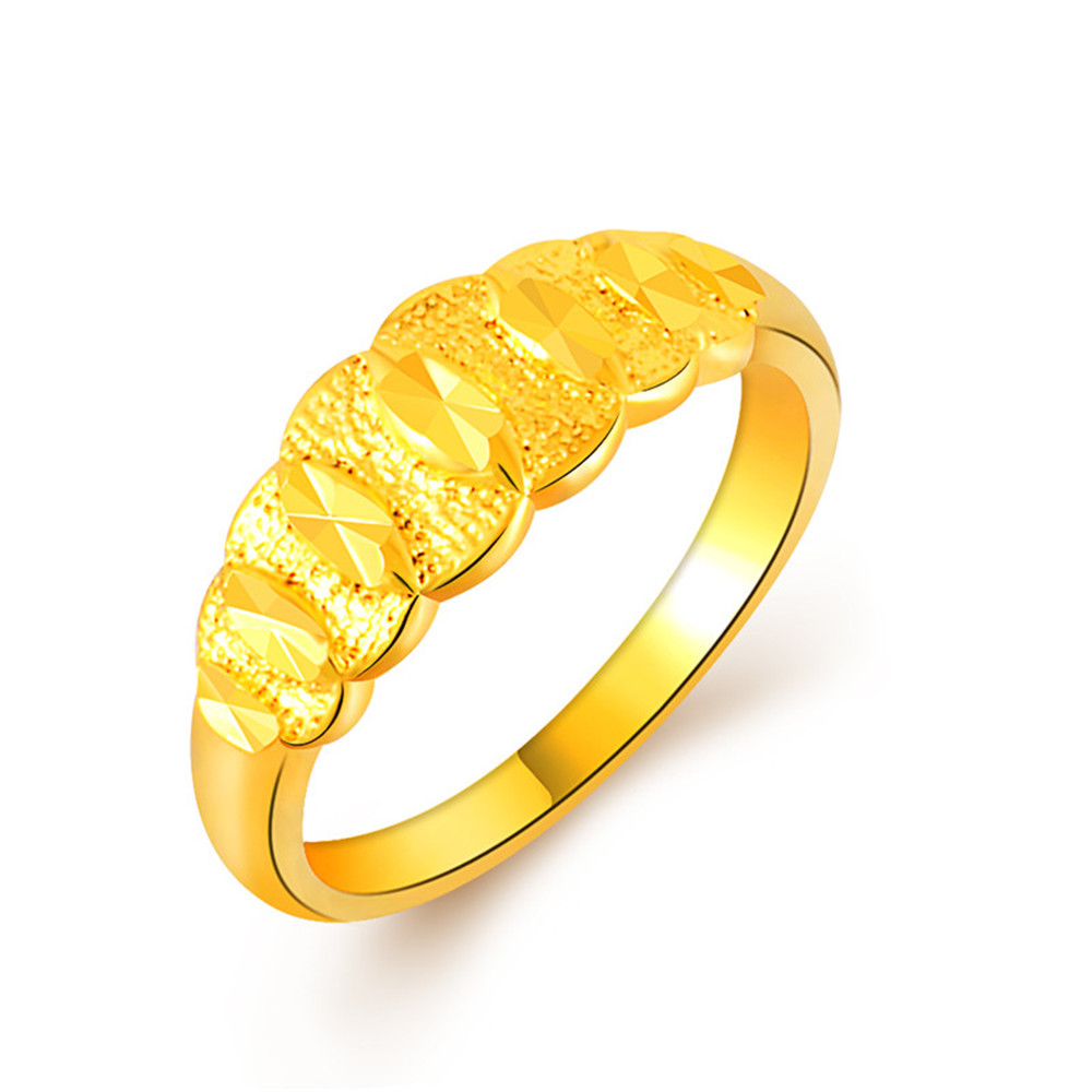 2017 Fashion Gold Color 24k Plated Wedding Rings For Men / Women Stainless Steel Vacuum Delicate Charms Best Friends Jewelry new