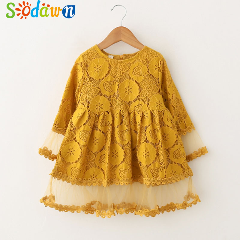 Sodawn 2018 Spring New Baby Girls Dress Fashion Sweet Lace Round Neck Cuff Stitching Gauze Party Princess Dress Kids Clohting contrast lace cuff frill detail smocked gingham dress