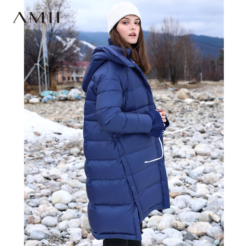 Amii Minimalist Printed   Down   Jacket Winter 2018 Casual Thick Asymmetrical Pockets Side Slit Hooded   Down     Coat   Parkas