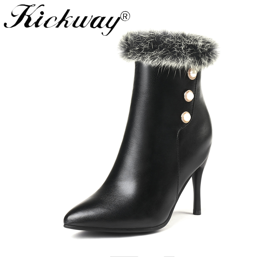 Kickway 2018 New Women Winter Snow Shoes Real Fur Snow Boots Warm Plush Non slip Bottom Thermal Waterproof Women Boots Size34 43