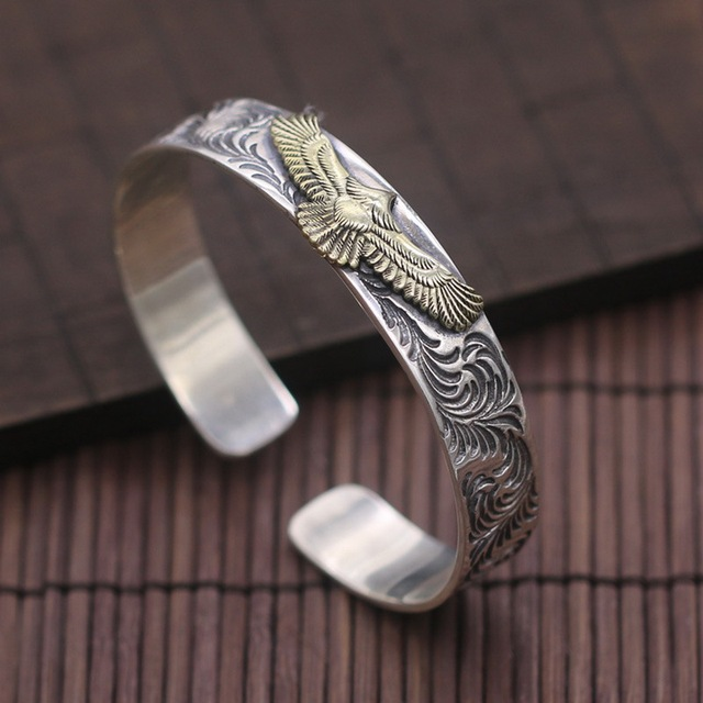 Solid Pure Thai Silver Golden Eagle Mens Cuff Bangle Bracelet Top