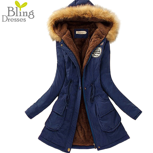 2016 Autumn Warm Winter Fur Collar Coats Jackets for Women Women's Long Parka Plus Size Parka Hoodies High Quality
