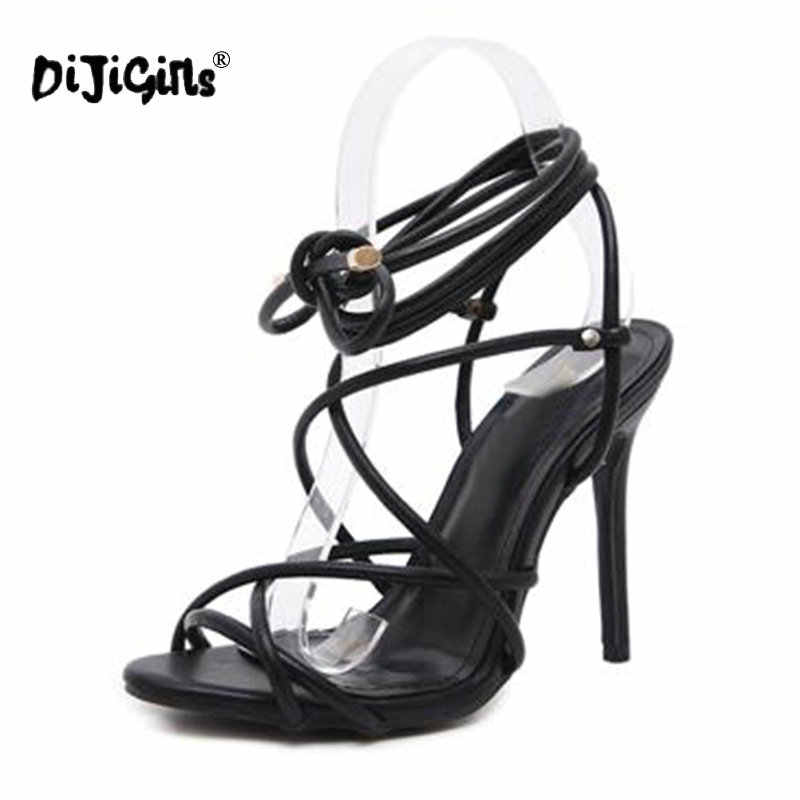 5643ca98a16 ... Dijigirls New PU Leather Lace Up Gladiator Sandals Women Peep Toe  Stiletto High Heels Strappy Sexy ...