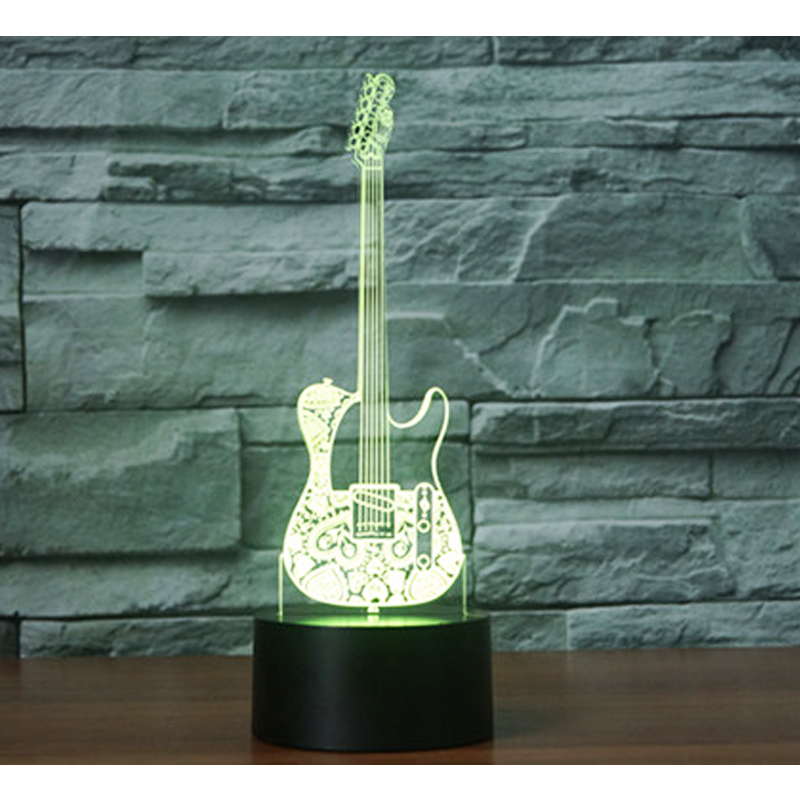 3D LED Night Light Guitar Come with 7 Colors Light for Home Decoration Lamp Amazing Visualization Optical Illusion Awesome free shipping 1piece new arrive marvel anti hero deadpool figure light handmade 3d bulbing illusion lamp led mood light for kid